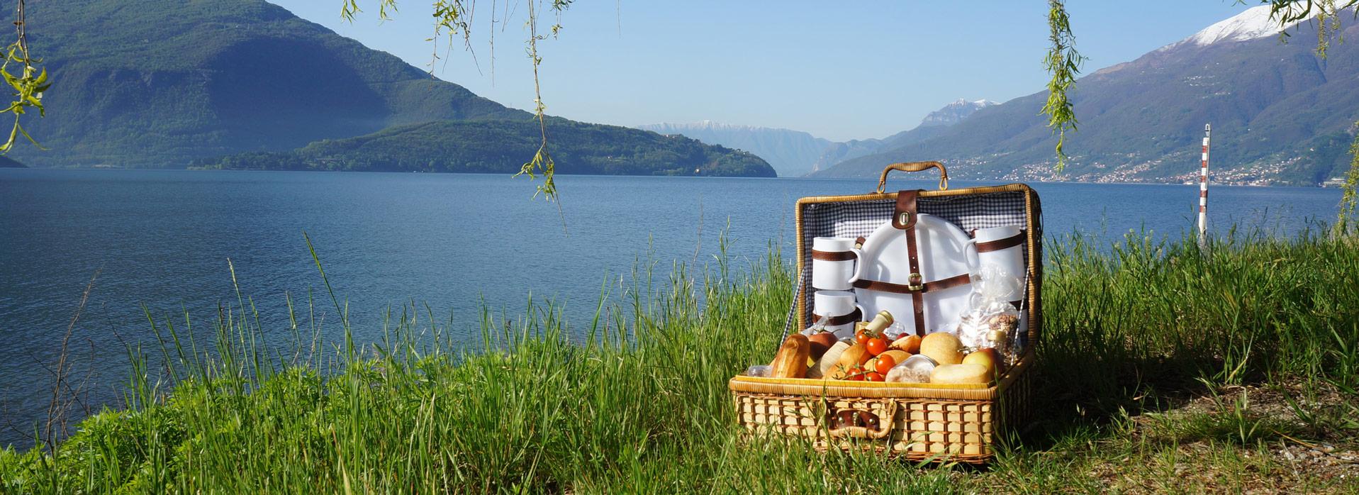 Ein Picknickkorb am See mit atemberaubender Kulisse